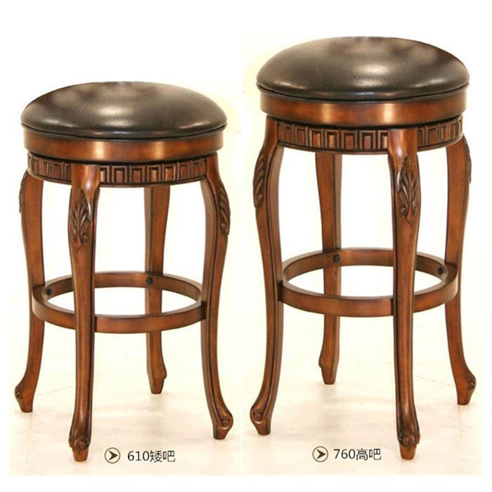 实木吧凳吧椅高脚凳真皮旋转吧台凳酒吧凳美式实木酒吧椅家用吧椅