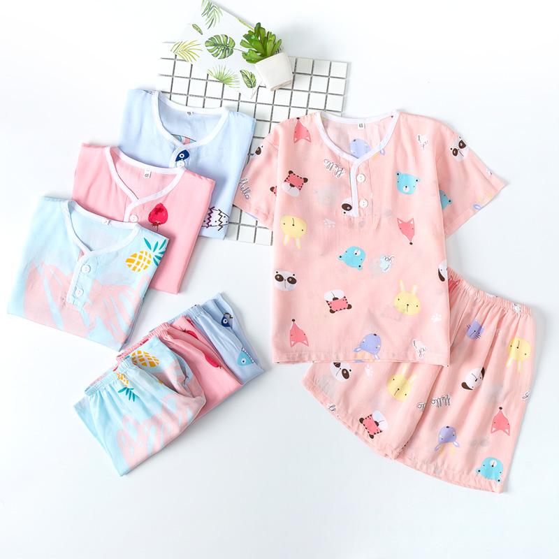 夏季薄款兒童棉綢睡衣短袖女童套裝寶寶小孩綿綢女孩人造棉男童裝