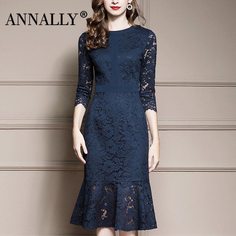 Annally2021秋季新款优雅名媛修身显瘦鱼尾中长款蓝色蕾丝连衣裙