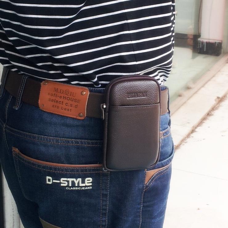 真皮手機腰包穿皮帶男士小煙包 4.7寸5.5寸6寸牛皮豎款手機包超薄