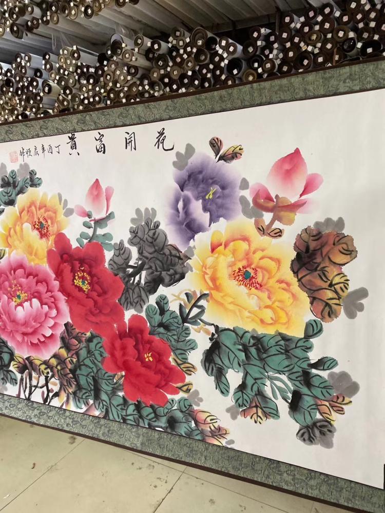 花開富貴純手繪牡丹國粹風水國畫寫意花鳥字畫客廳辦公室裝飾掛畫
