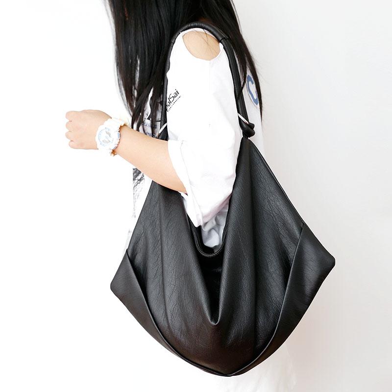 餃子包pu軟皮大包女大容量簡約休閒包黑色單肩包女包時尚百搭洋氣