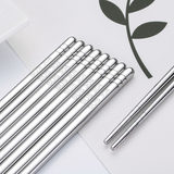 Household stainless steel chopsticks 304 square lower round imported white steel metal silver chopsticks