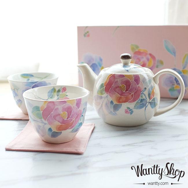 現貨 日本製美濃燒 水粉玫瑰手繪釉下彩茶具套裝茶壺茶杯對杯子