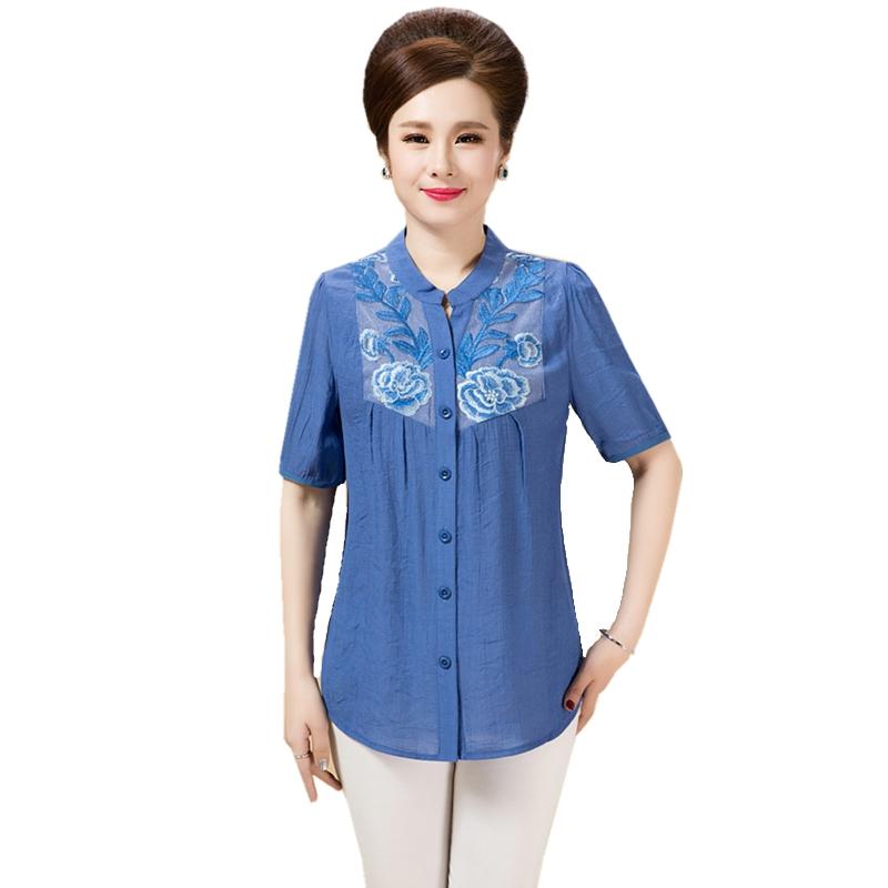 棉麻短袖绣花衬衫 中老年女装夏季妈妈装宽松版大码半袖2019新款