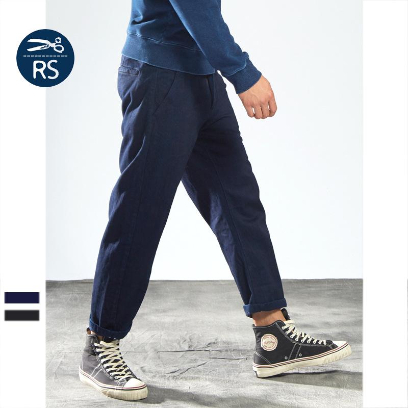 阿美咔叽日系复古蓝染丹宁男式牛仔裤立体剪裁弯刀修身小脚九分裤