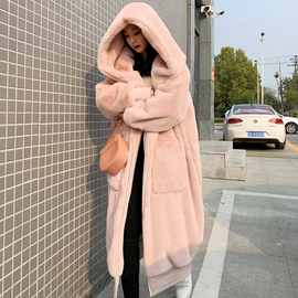 2019秋冬季新款Gigi同款仿獭兔毛加厚长款连帽毛毛外套皮草大衣女
