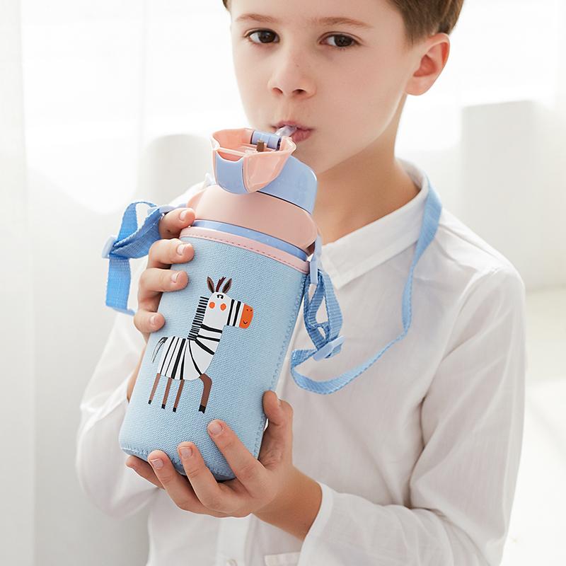 face儿童保温杯子男女带吸管便携两用不锈钢幼儿园小学生宝宝水壶