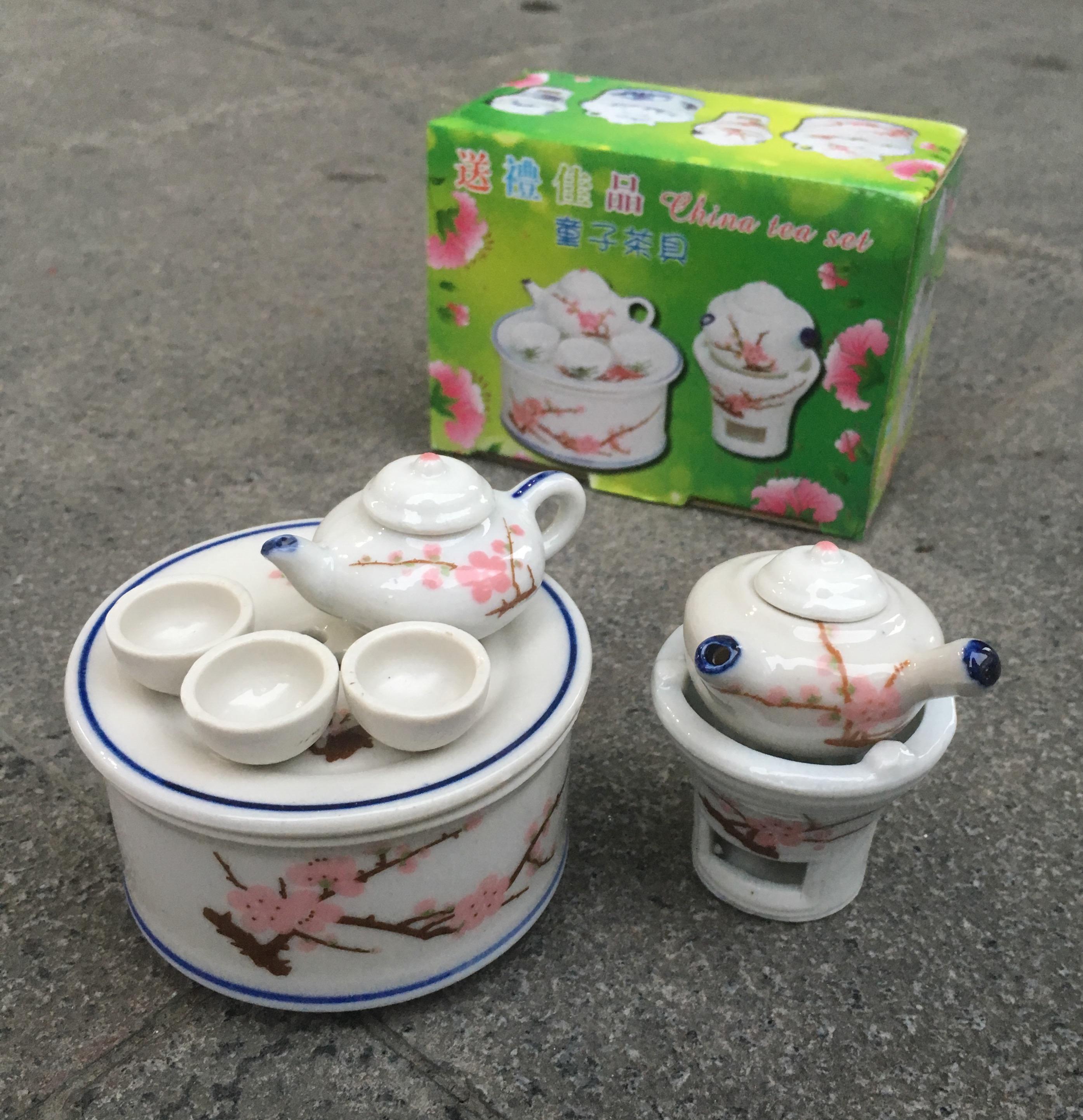 迷你擺件創意陶瓷兒童小玩具過家家模擬小型功夫茶具茶盤茶壺套裝