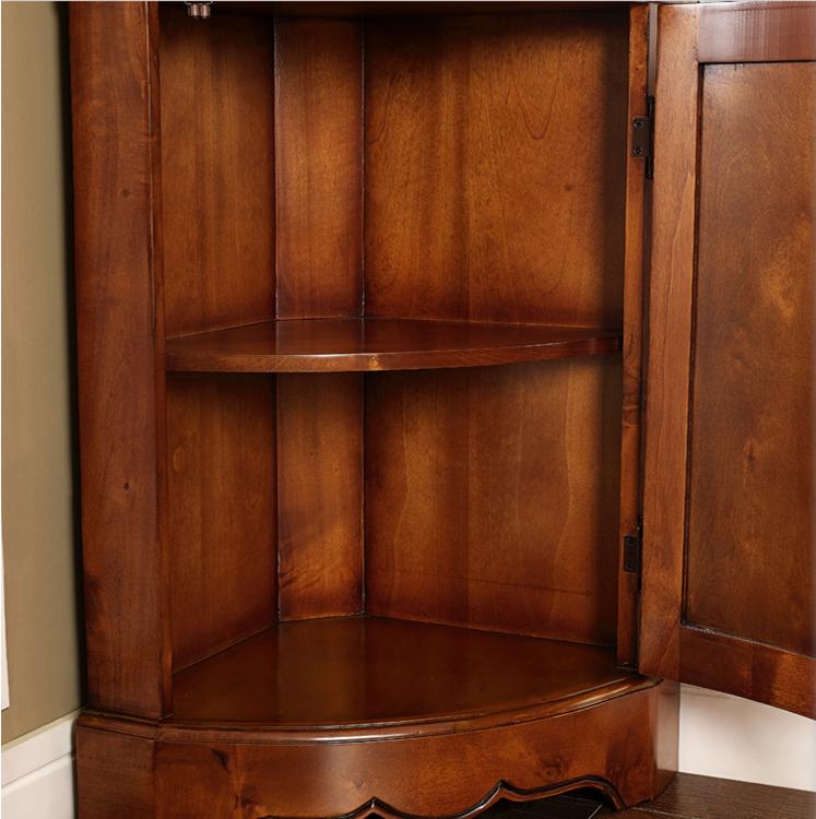 美式实木三角柜 欧式角落酒柜 客厅餐边柜玻璃转角柜 墙角储物柜