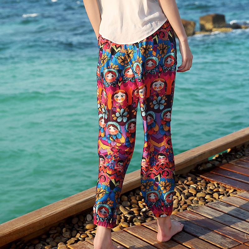 波西米亚套装夏雪纺碎花灯笼裤薄沙滩哈伦裤女长裤海边度假阔腿裤
