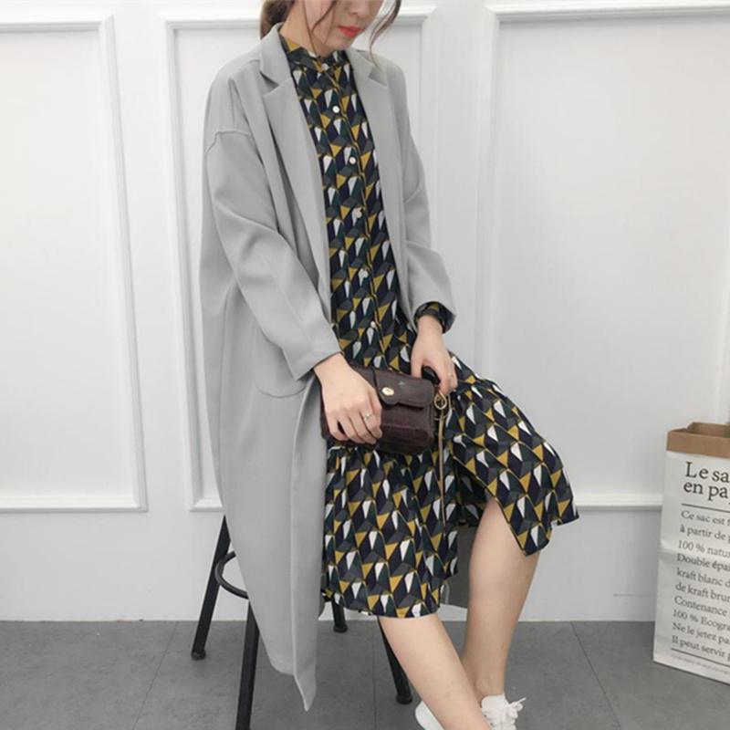 韩版BF风长款茧型宽松风衣女春秋装西装领阔型oversize休闲外套