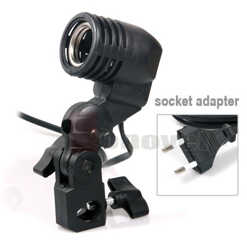 E27萬向燈頭 攝影補光燈座 E27單燈頭燈座螺口傘燈座攝影燈泡配件
