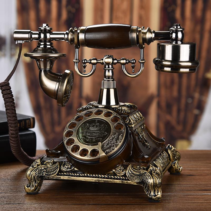 欧式复古电话机座机家用仿古电话机时尚创意老式转盘电话无线插卡