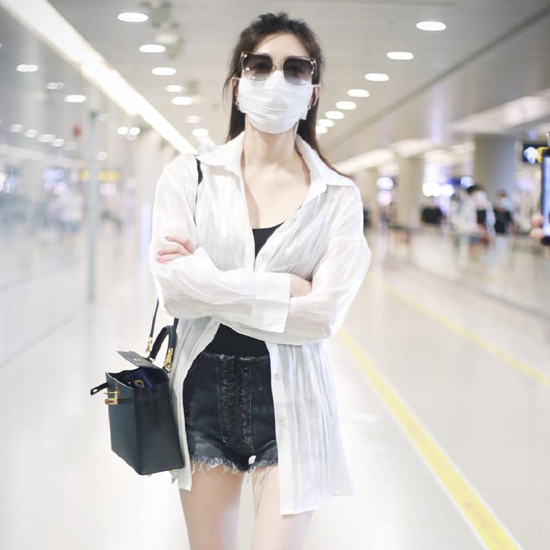 江疏影同款白色防晒衬衫长袖薄款衬衫女设计感小外套衬衣女上衣夏