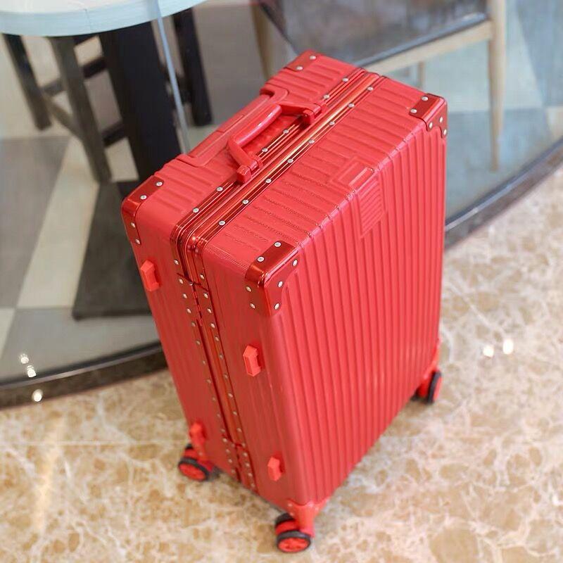 大紅色行李箱結婚箱子新娘陪嫁箱皮箱拉桿旅行箱女婚慶嫁妝鋁框箱