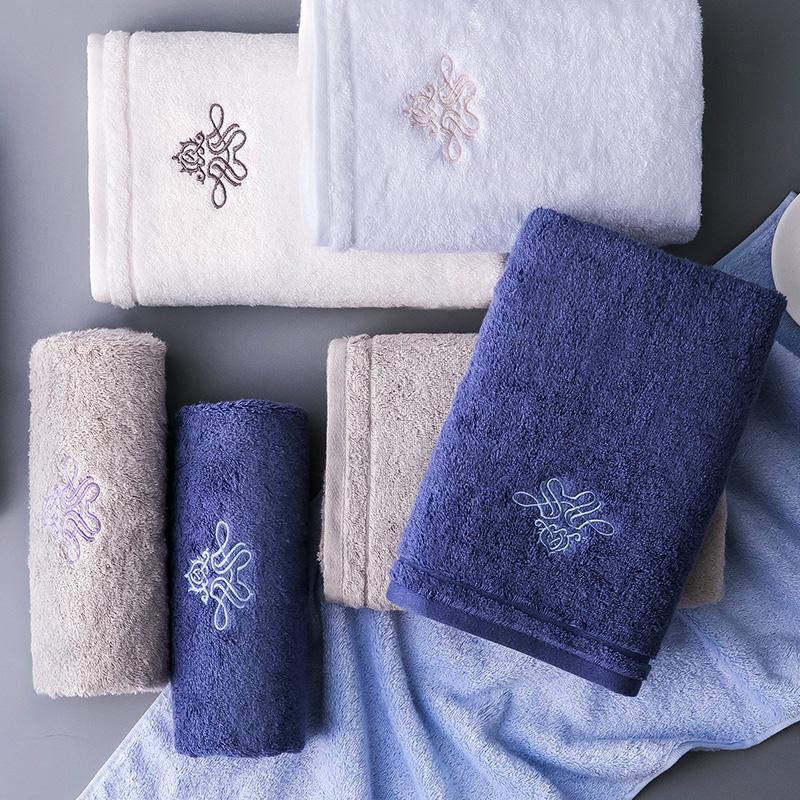 酒店大毛巾纯棉洗脸家用成人男女全棉吸水洗脸巾柔软加大面巾3条