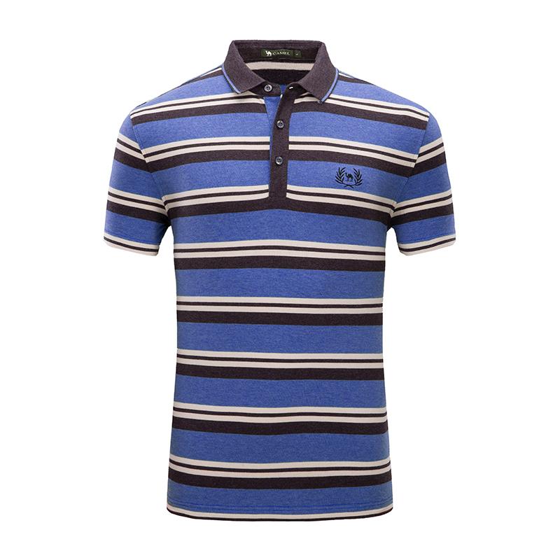 骆驼男装 夏季款男士短袖T恤翻领绣标商务休闲微弹条纹Polo衫