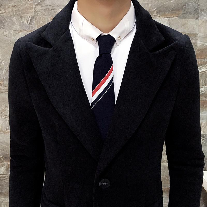冬季加棉加长风衣男长款青年修身韩版过膝外套男商务大码毛呢大衣