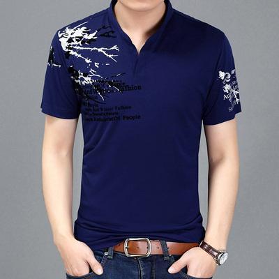 新款丝光棉短袖T恤男士立领印花修身打底衫男装休闲polo衫