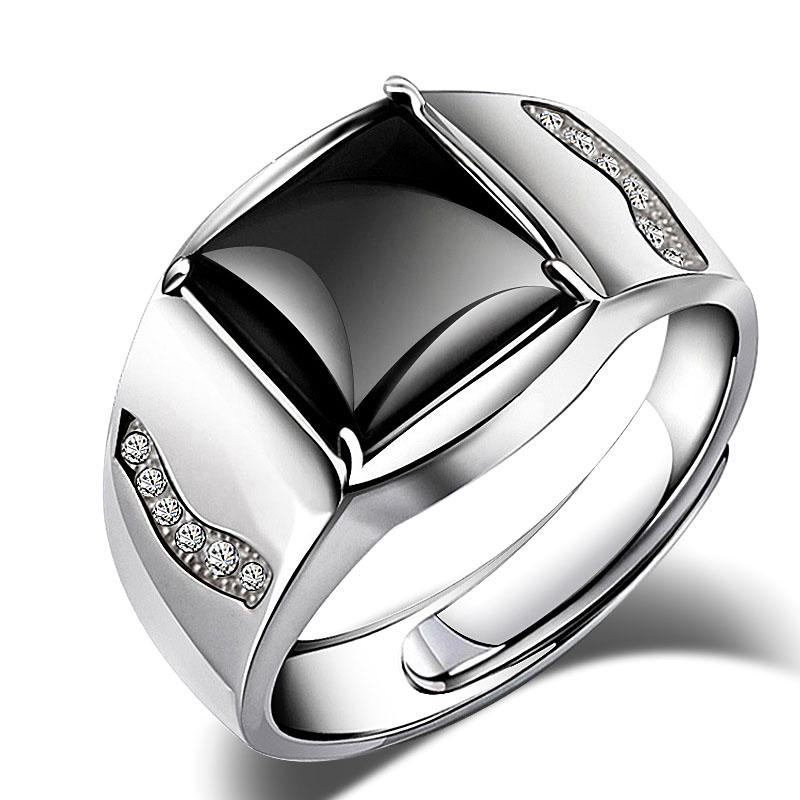 ins 戒指男潮纯银简约轻奢食指嘻哈个姓玛瑙原创设计霸气开口指环