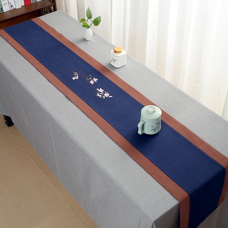 茶席桌旗中式茶几垫茶巾纯手工棉麻中国风梅刺绣桌旗布艺茶席麻布