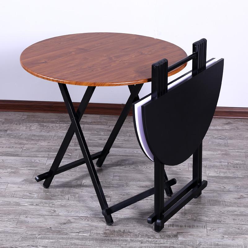 家用折叠桌多功能简易吃饭桌子饭桌圆桌收缩小圆形可折叠简易餐桌