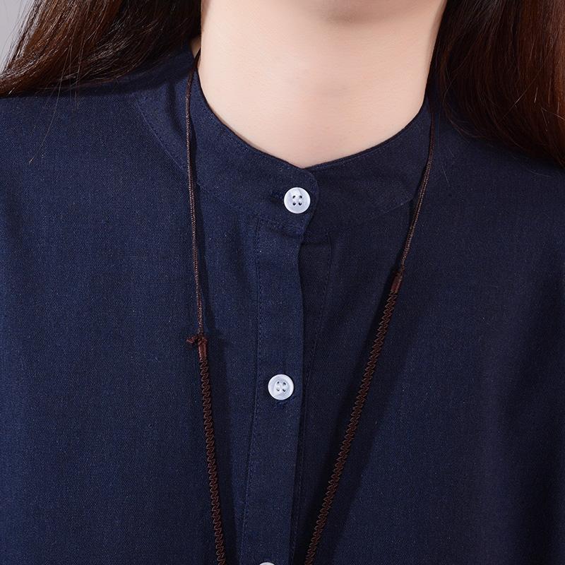 子亦2019韩版春装新款裙子宽松口袋3码3色大码棉麻打底连衣裙