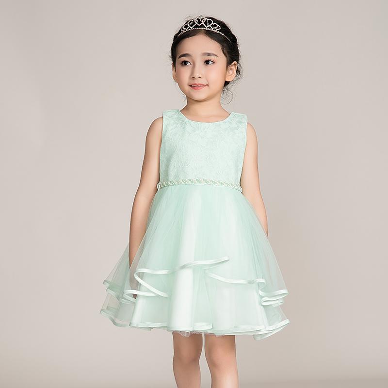 女童春夏装2017新款欧美童装连衣裙小女孩裙子儿童表演服大童礼服