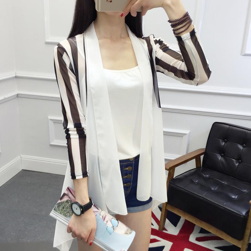 防晒衣女夏季韩版百搭中长款雪纺薄款外套宽松长袖外搭透气开衫