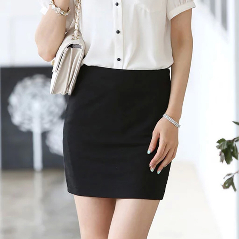 夏弹力包臀裙短裙半身裙女高腰裙子OL职业大码一步裙包裙工作裙子