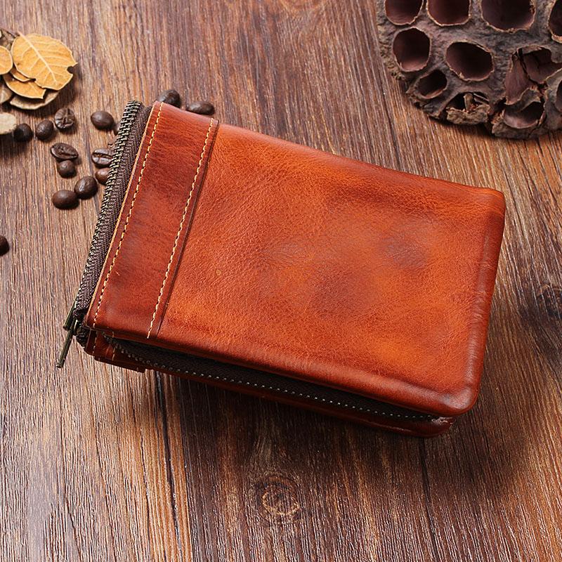 手工牛皮男士钱包复古做旧竖款搭扣拉链零钱包短款多卡位真皮钱夹