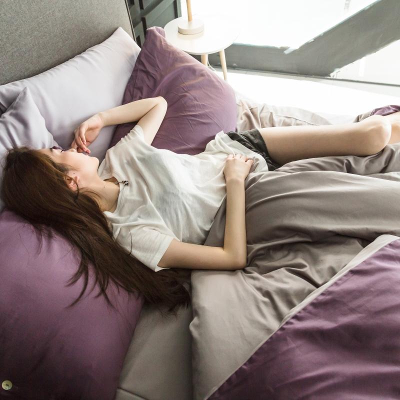 出口欧美式60支纯棉长绒棉贡缎四件套全棉纯色床单床笠床上用品