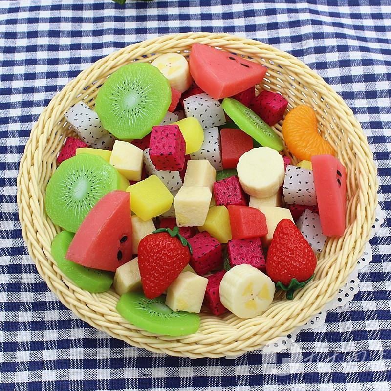 仿真食物草莓猕猴桃香蕉水果切块模型沙拉拼盘蛋糕DIY配件装饰