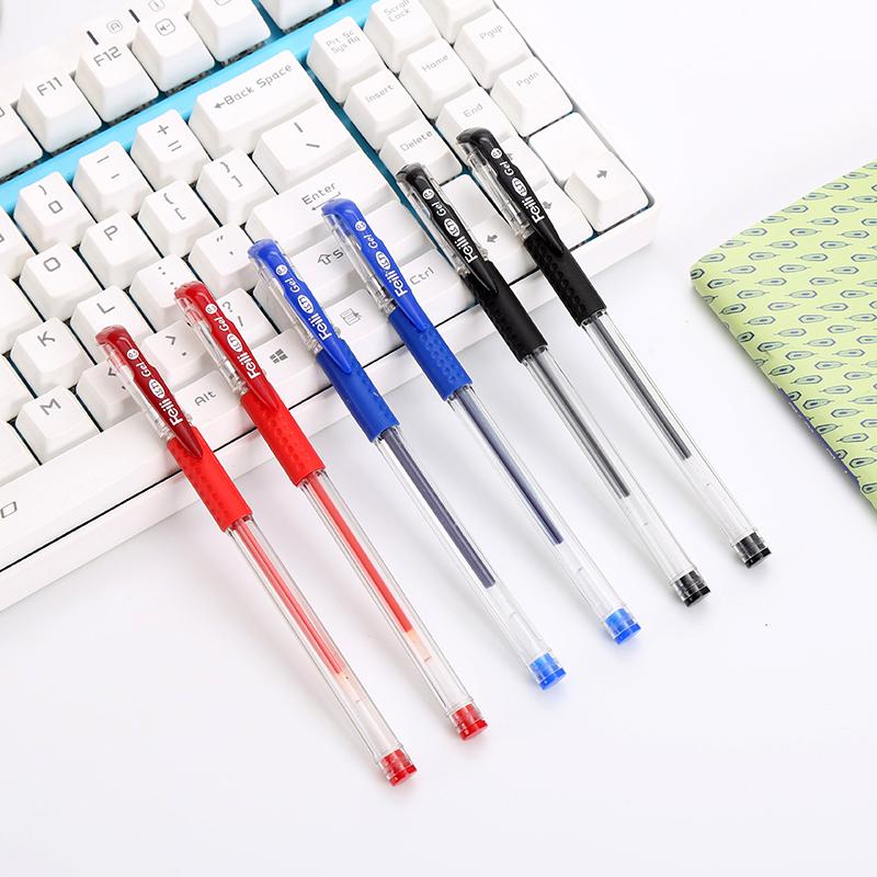 100支中性笔0.5MM黑色水性笔批发办公文具碳素笔签字笔子弹头水笔