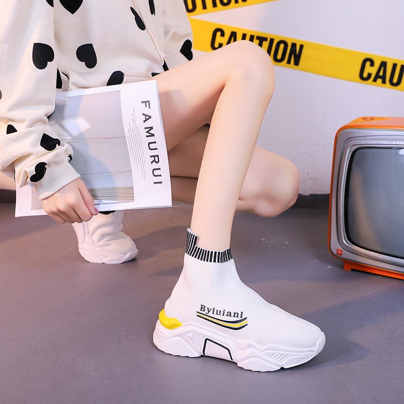 袜子鞋女2020夏季新款轻便休闲运动鞋街拍透气网面飞织老爹高帮鞋