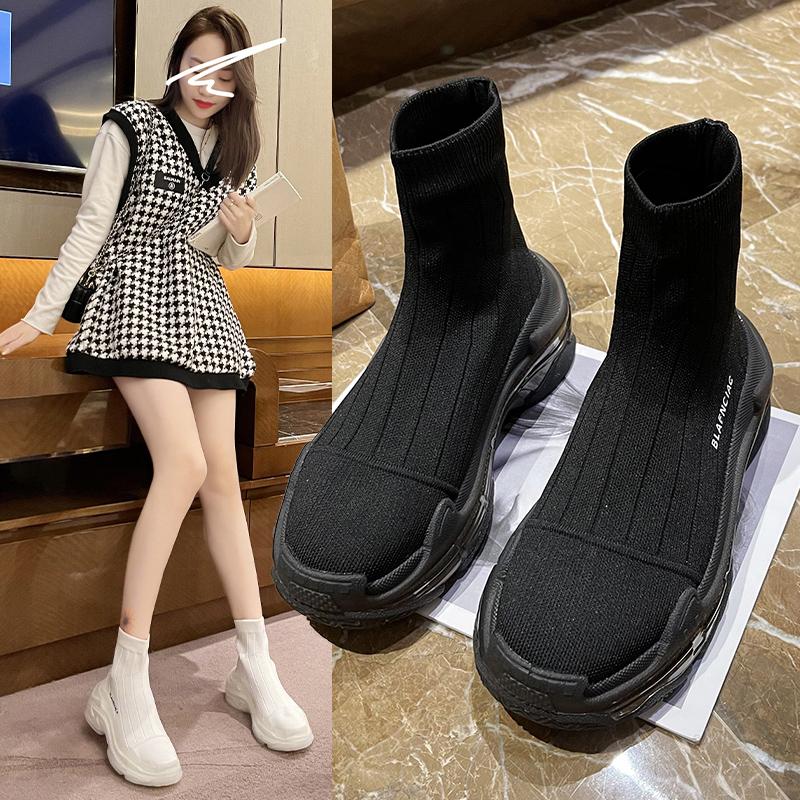 高帮鞋女2021春夏薄新款果冻厚底弹力袜靴运动老爹袜子鞋飞织短靴