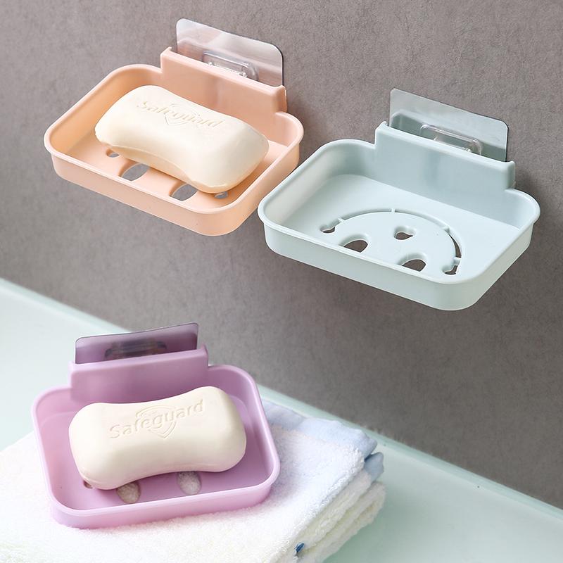免打孔壁挂式肥皂盒卫生间日用沥水置物架收纳盒子家居墙上香皂架