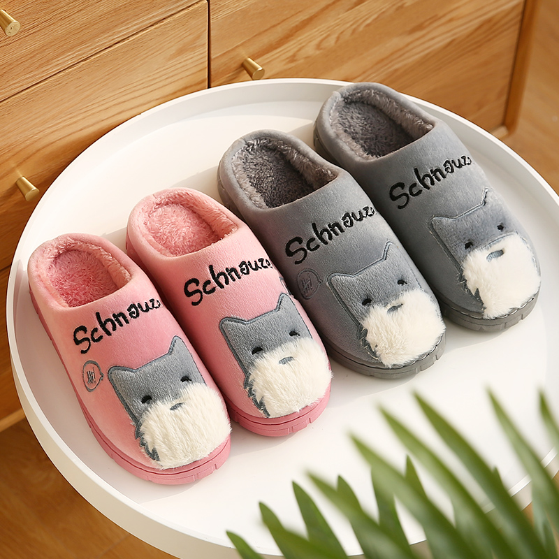 棉拖鞋女冬季室内防滑厚底可爱毛绒卡通月子鞋家居保暖情侣男包跟