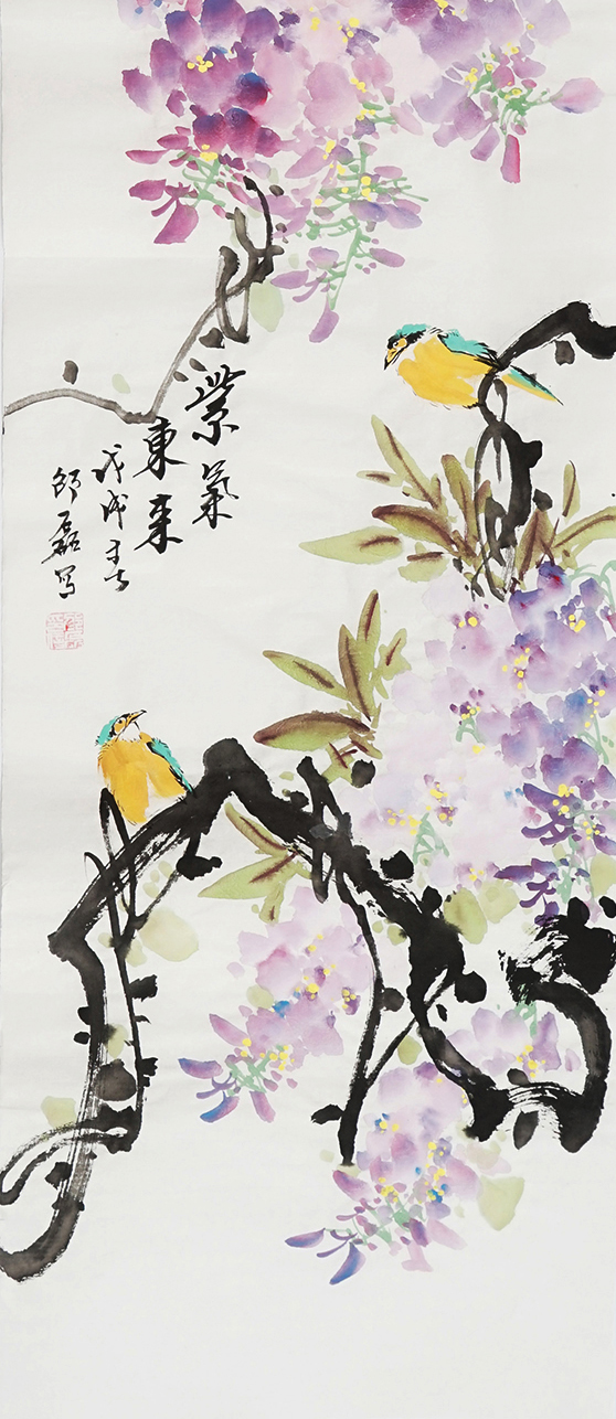 国画写意花鸟画四条屏装饰画紫气东来字画葫芦手绘水墨画邵磊0050