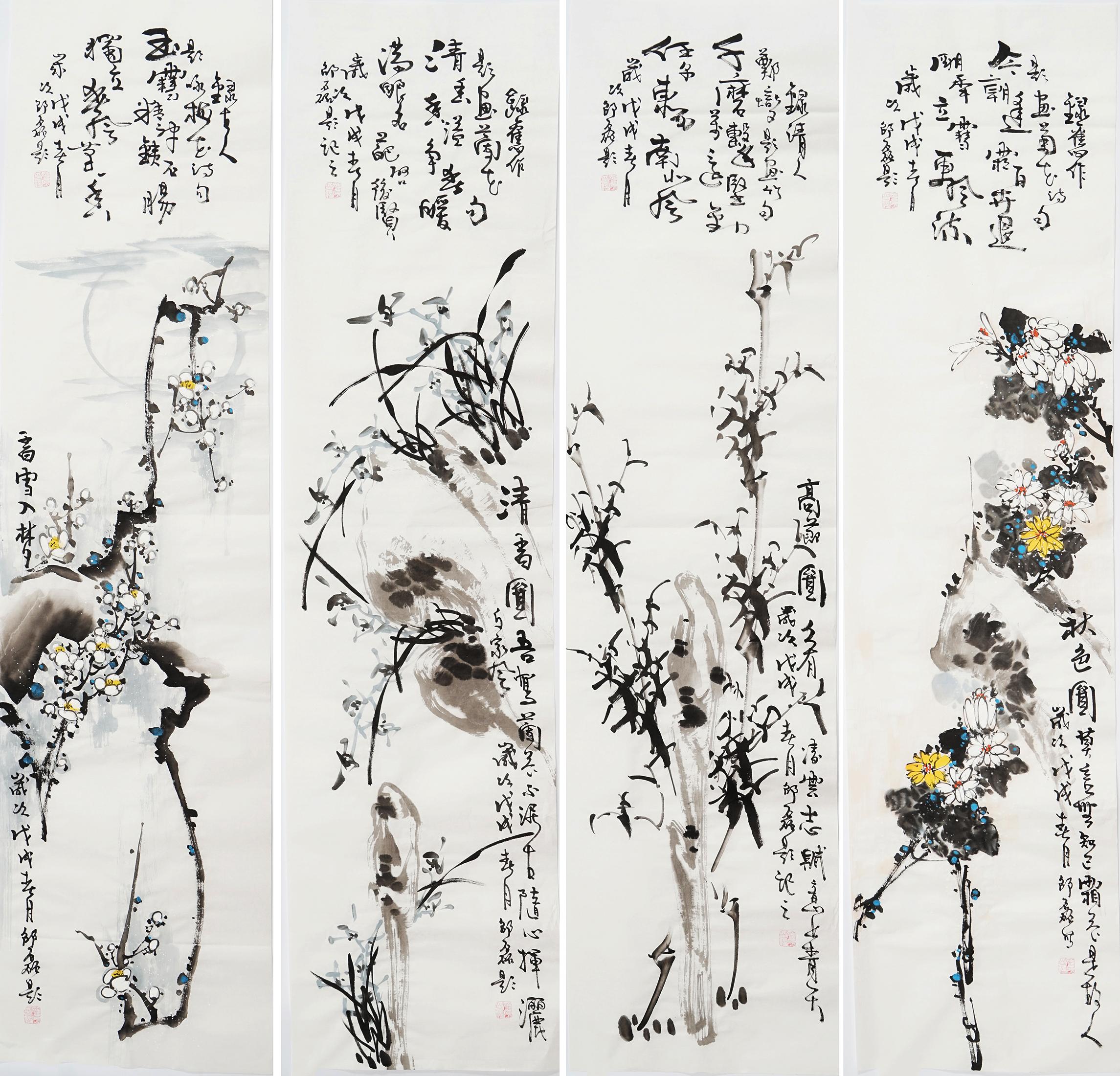 梅兰竹菊挂画客厅国画花鸟四条屏写意纯手绘水墨画装饰画邵磊0051