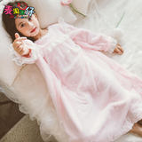 Children child girls flannel pajamas thick coral velvet autumn and winter sweet baby girl princess nightgown