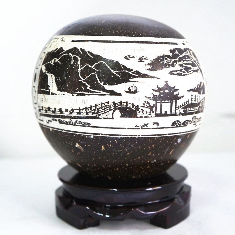 包邮字画摆件海南黎族椰雕陋室铭金桥富路椰子壳椰壳旅游纪念礼品