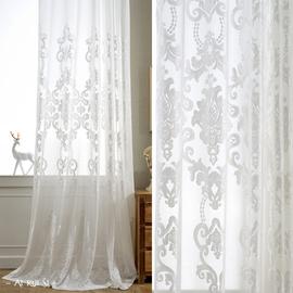 欧式纯白色半遮光绒布料现代简约窗帘纱客厅纱阳台纱定制加厚窗纱