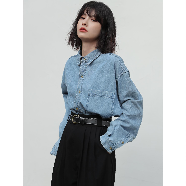 bayue八月 港风法式牛仔衬衫早秋新款复古设计感小众蓝色衬衣女