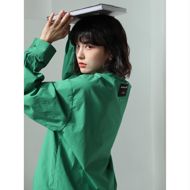 BAYUE八月 绿色衬衫女新款2021年设计感小众上衣衬衣复古港风内搭