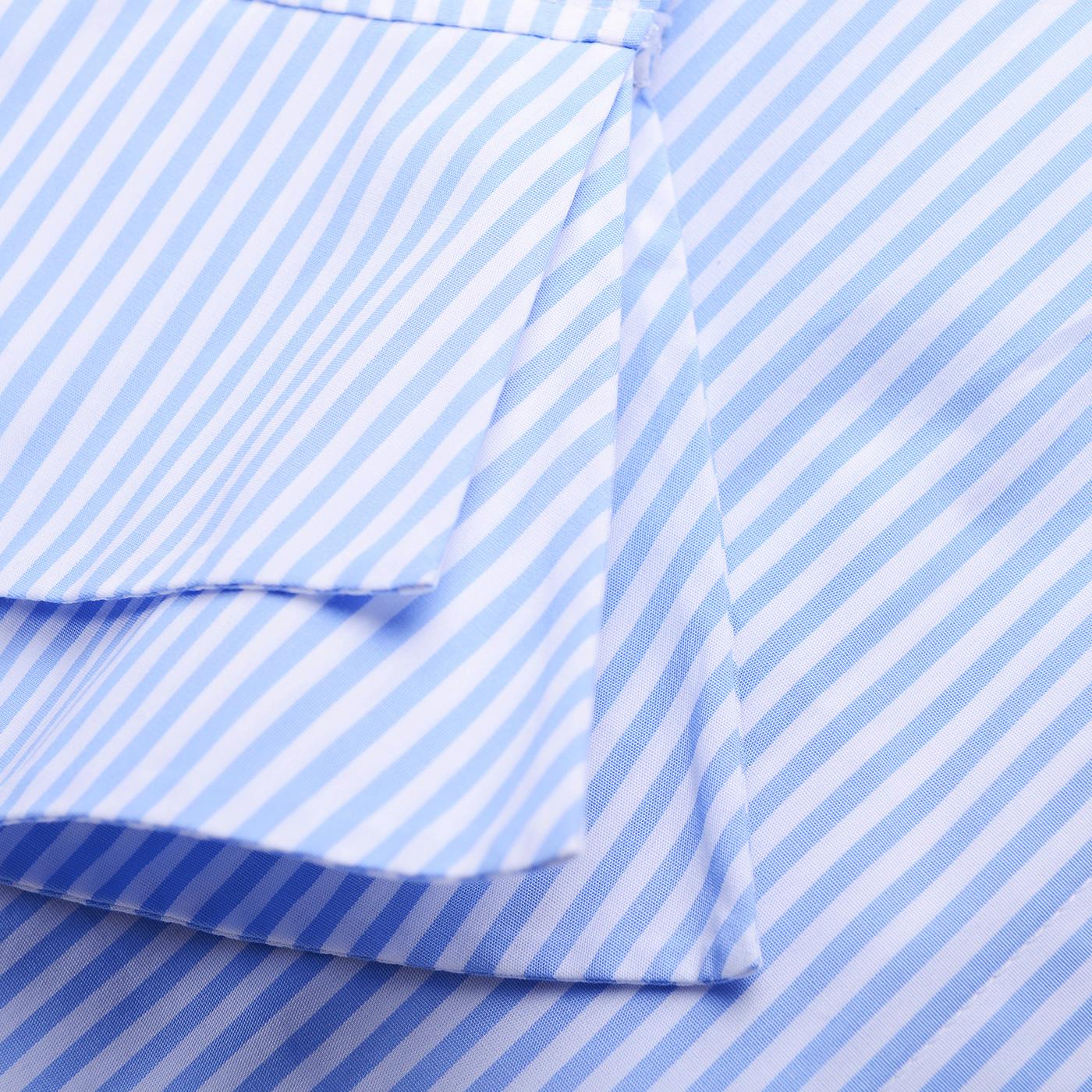 糖力春装新款欧美女装蓝白条纹露肩收腰连衣裙不规则显瘦裙子