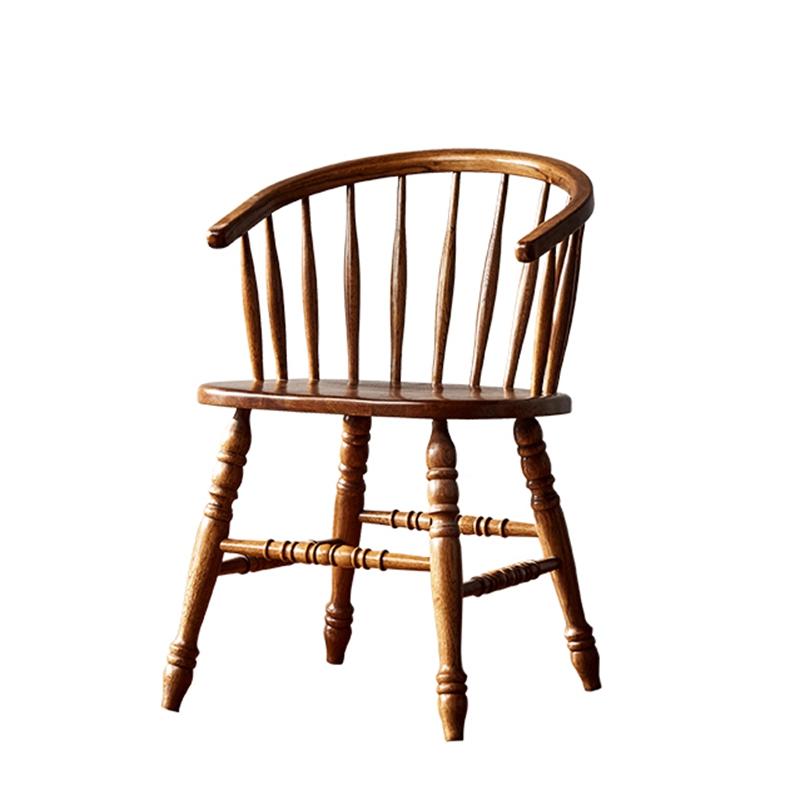 【天天特价】橡木实木餐椅圈椅美式休闲扶手书椅电脑椅简约咖啡椅