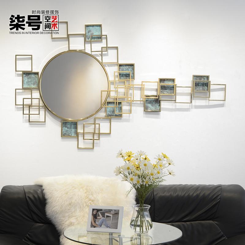 不锈钢圆镜子壁挂酒店样板房客厅餐厅卧室背景墙上装饰品金属壁饰