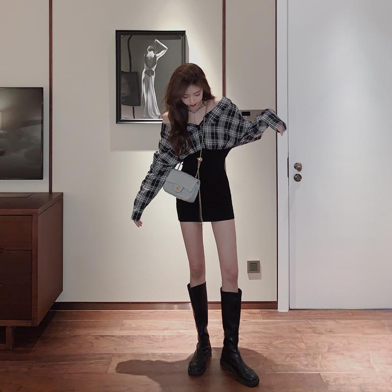 0新款女收腰显瘦裙子